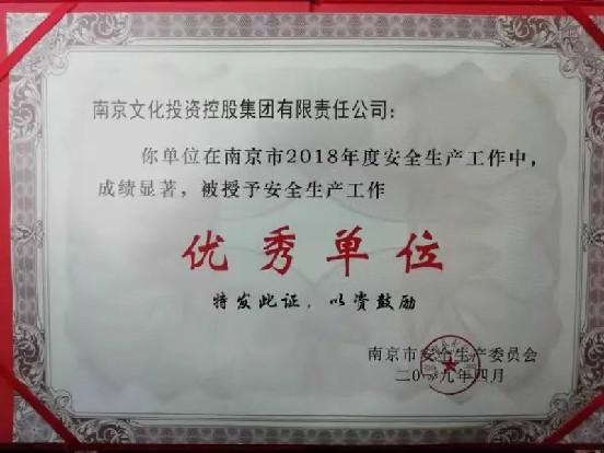 """喜报!集团获""""2018年度南京市安全生产工作优秀单位"""""""